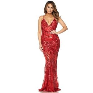 Red Beaded Sequin Maxi Dress